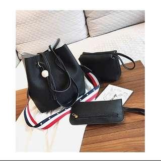 🚚 新款韓版時尚女包水桶包三件套/子母包百搭手提包肩背斜背包包