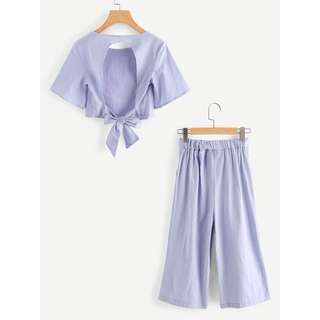 Crop top + High waisted culottes set