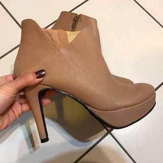 FM shoes 駝色裸靴38