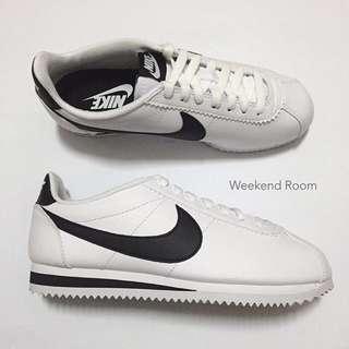 Nike Classic Cortez 阿甘 白黑勾 皮革
