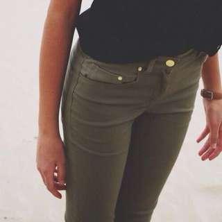 Zara Army Green Wash skinny Jean