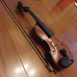 全新3/4小提琴(附盒子、琴弓、松香、背帶)