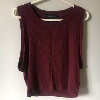 F21 Purple Ribbed Crop Top