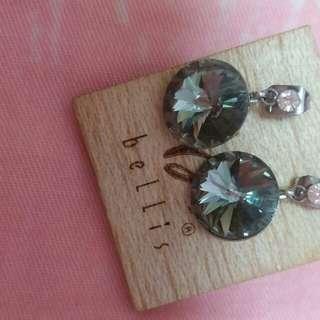 人造水晶 閃石耳環