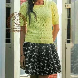 Atasan blouse knit rajut / rok wedges flare (dijual terpisah)