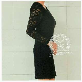 Dress impor korea ori brokat lace hitam