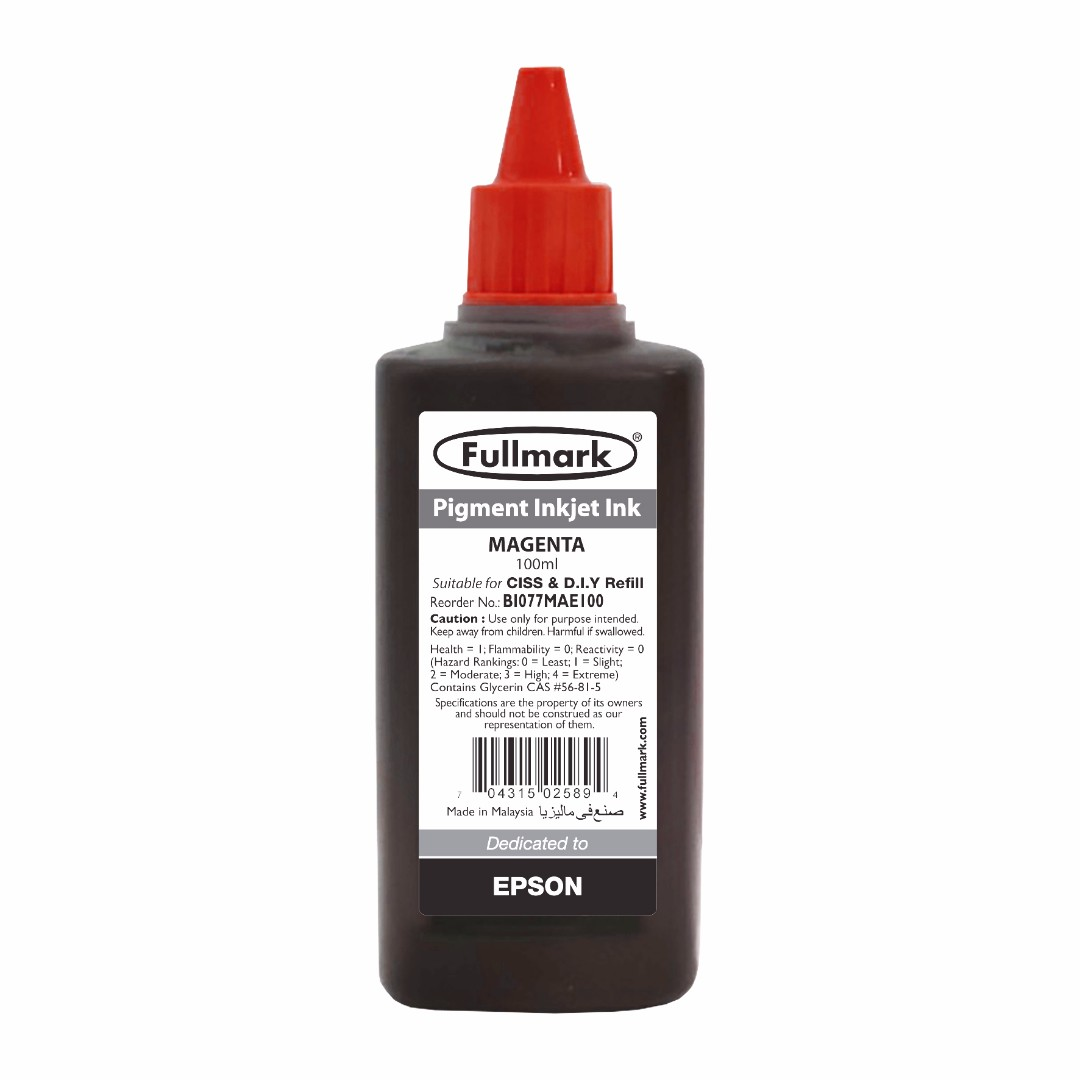 24 x 100ml Fullmark Pigment Inkjet Ink, 100ml, Magenta - Compatible with EPSON
