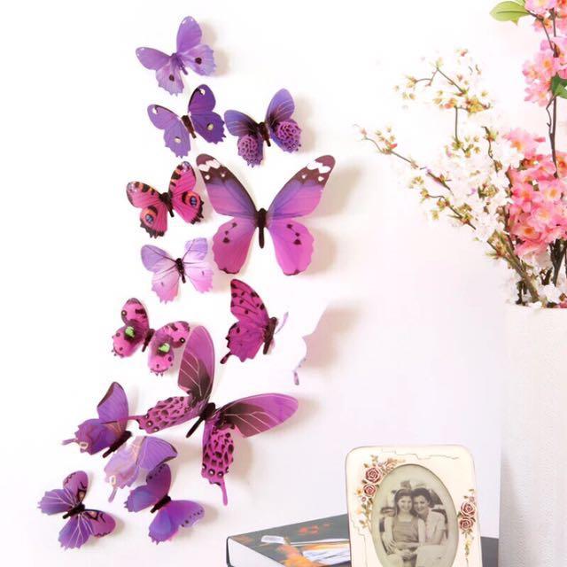 3D立體仿真蝴蝶防水冰箱貼/牆貼/房間擺飾裝飾貼/田園風3種尺寸【12入只要99元】3色可選-磁鐵/黏貼
