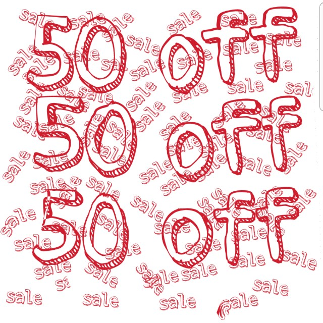 50php off on all items!!!! Hurry