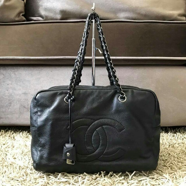 97% new chanel deerskin luxe ligne bowler large