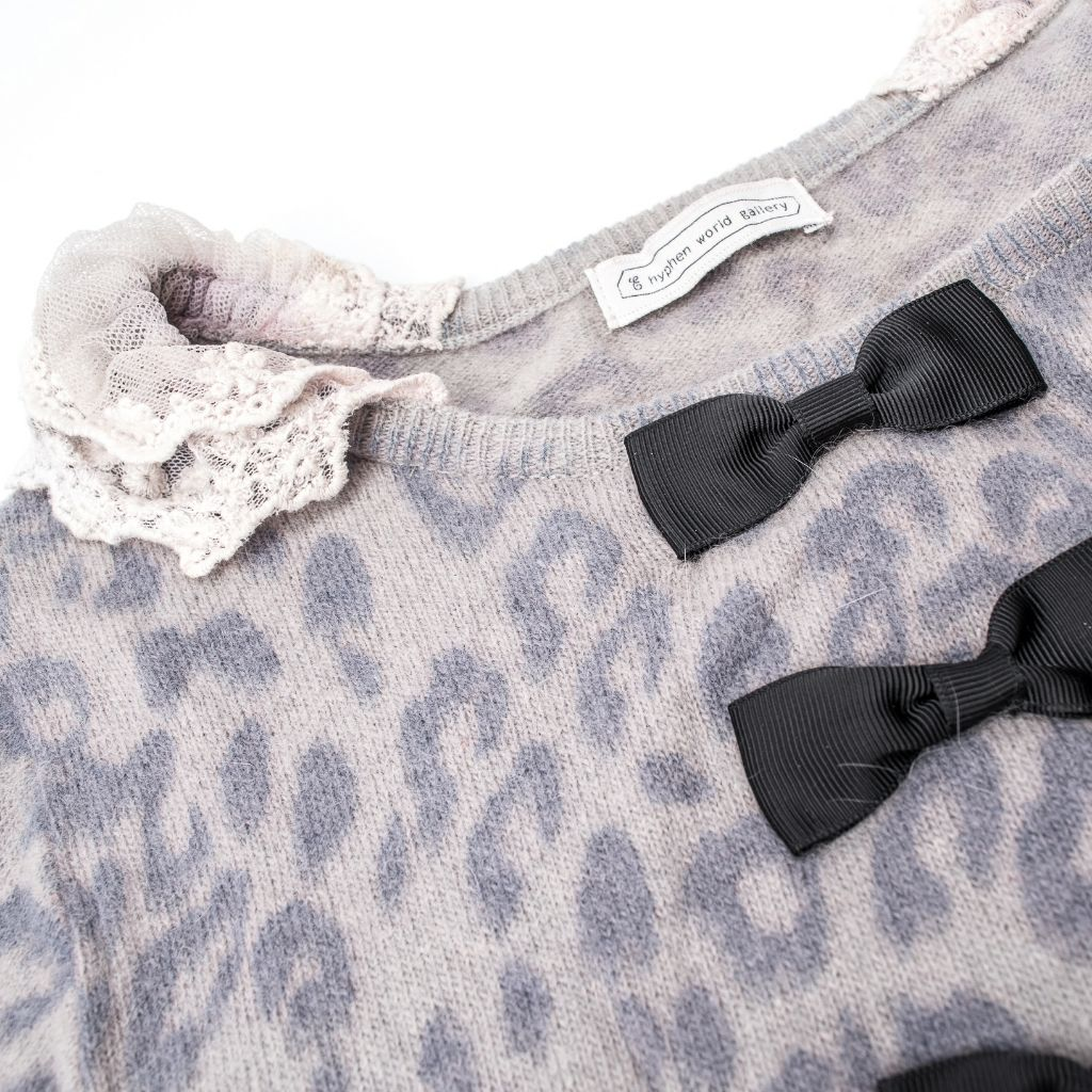 紫色豹紋針織毛線衣