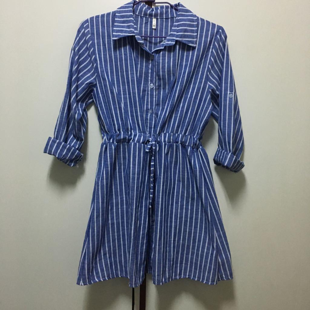 藍色直條紋洋裝