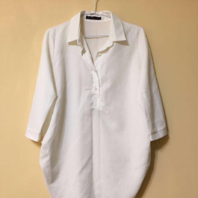 長版七分袖雪紡襯衫