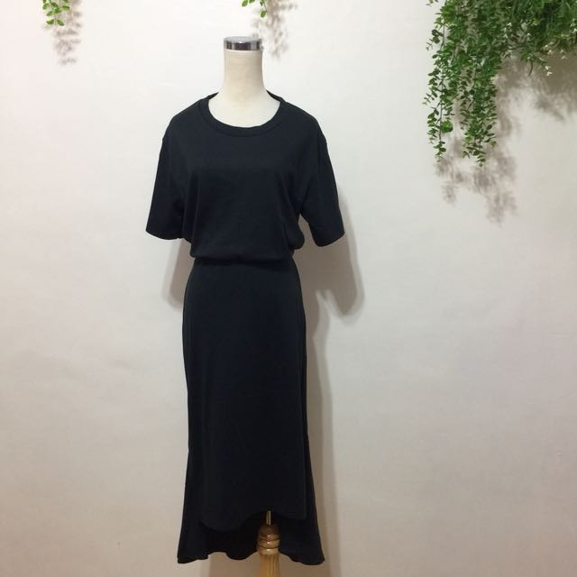 全新,韓製,素素腰鬆緊前短後長修身連身洋裝,連身長裙