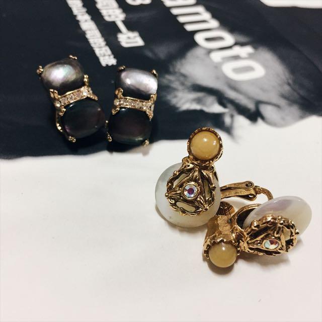 半寶石 夾式古董耳環