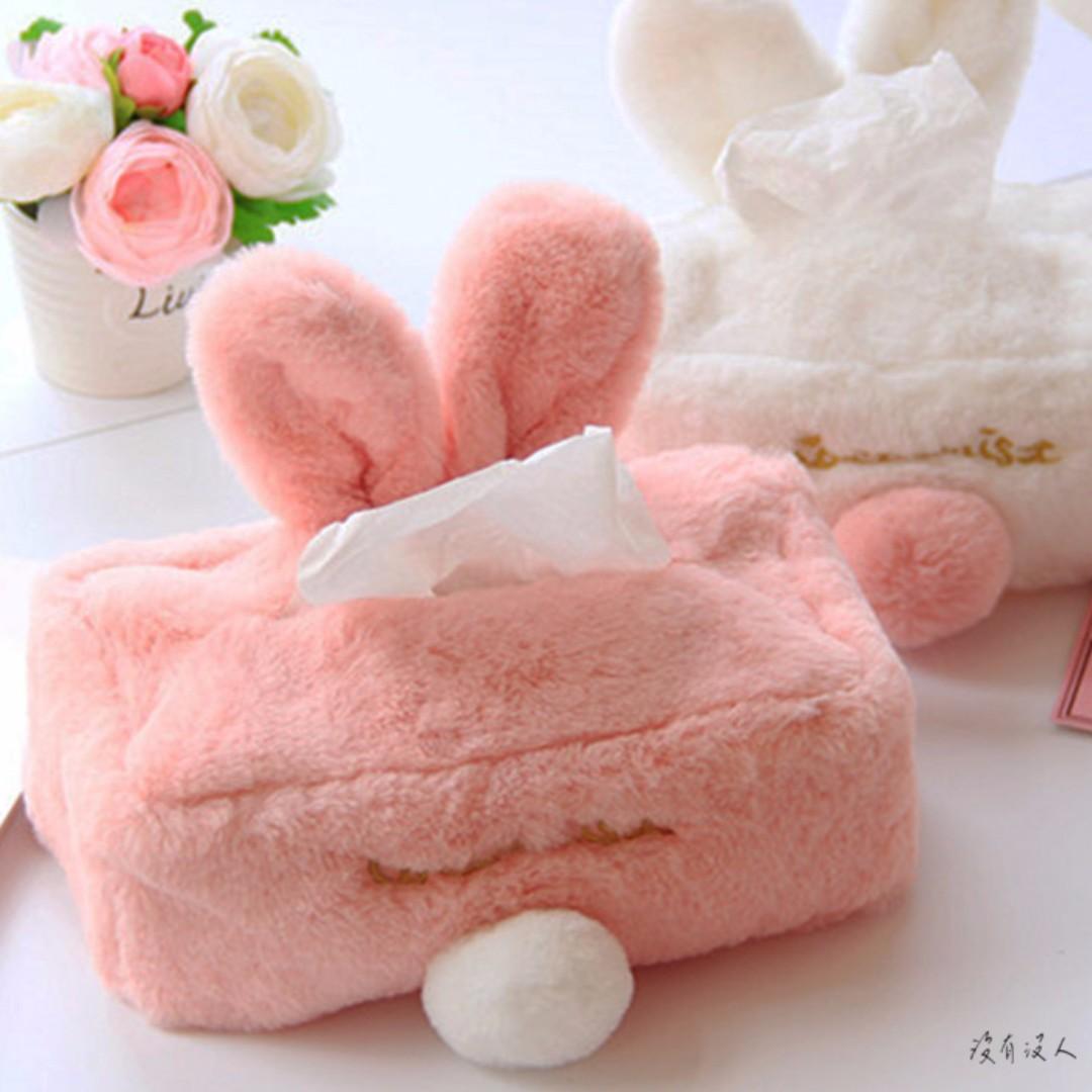 跳跳。軟軟兔子耳朵面紙套 立體兔子造型 毛毛 抽取衛生紙套 秋冬 療癒 女孩房間布置 汽車用品 交換禮物最想要。沒有沒人