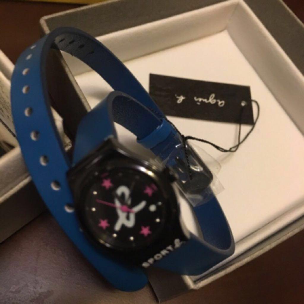 全新 Agnesb Sportb 手錶 藍色 腕錶 皮錶