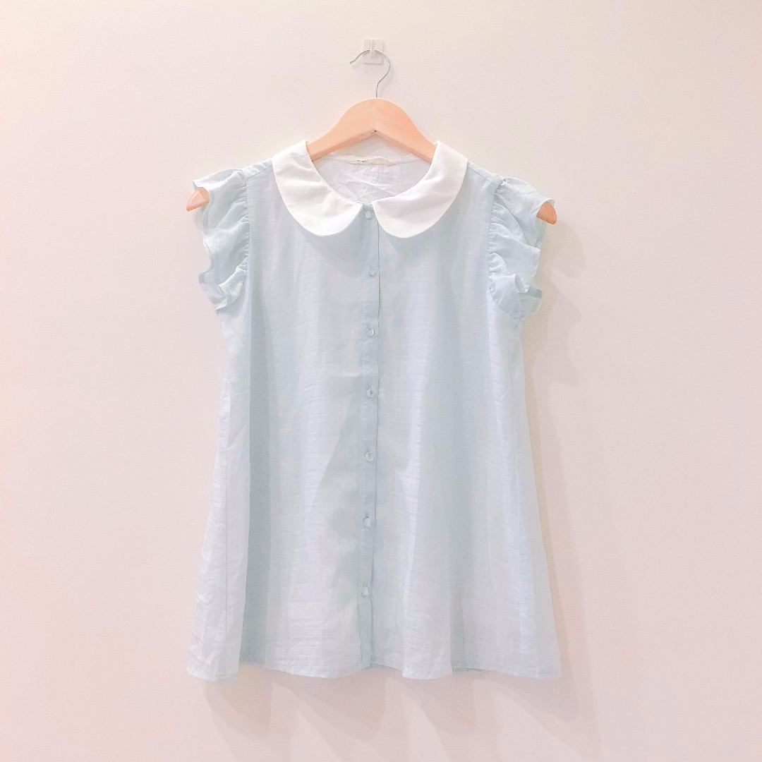 日本 majestic legon 荷葉邊袖可愛雪紡襯衫