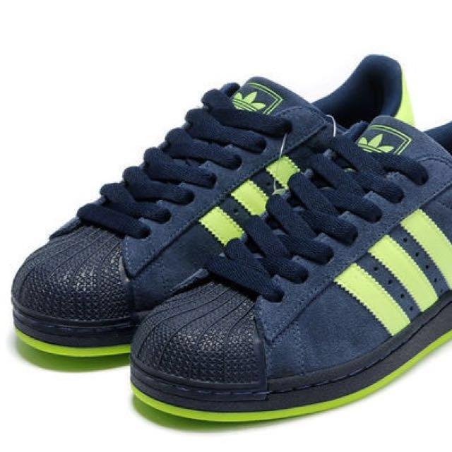 adidas 麂皮 螢光綠 us8/26cm