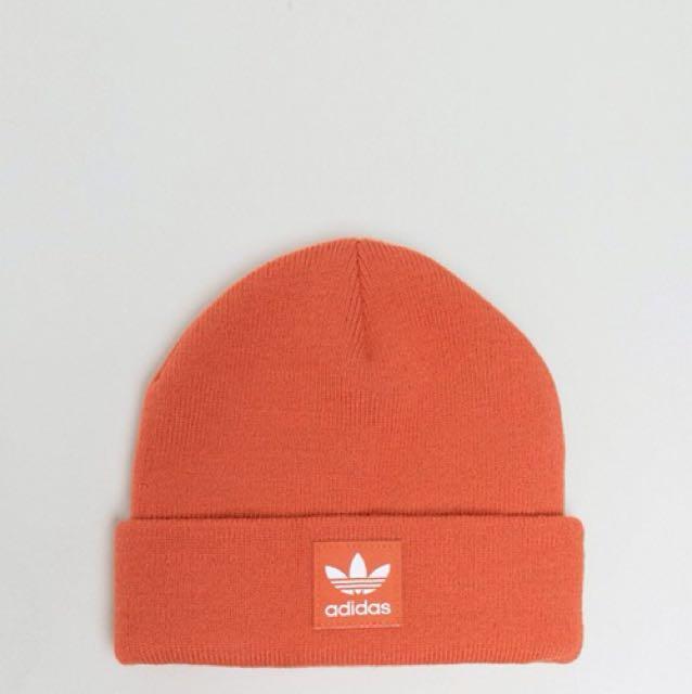 adidas originals trefoil beanie in orange毛帽