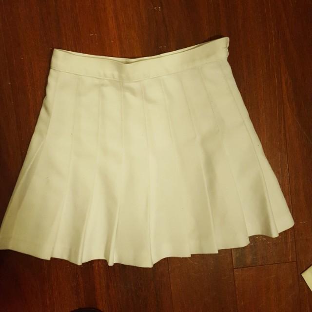 American Apparel White Tennis Skirt Small