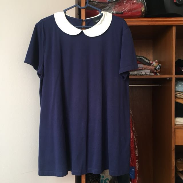 ASOS Peterpan Collar Navy Top Maternity XL