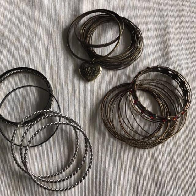 Assorted bangle bracelets ($5 each set or $10 for all)