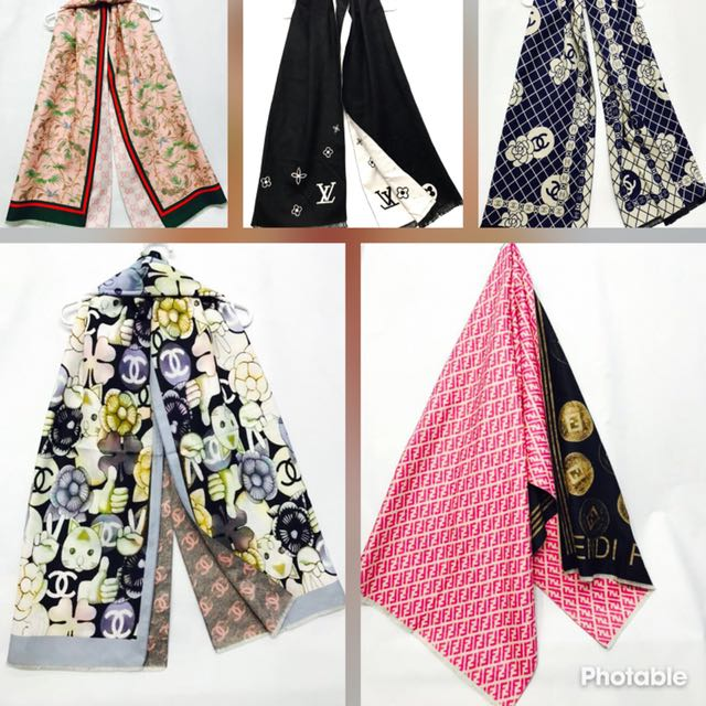 🤶🏼Assorted brand scarves 🤶🏼  🤶🏼Length 74 🤶🏼Width.  25 🤶🏼Material wool 🤶🏼$55/-