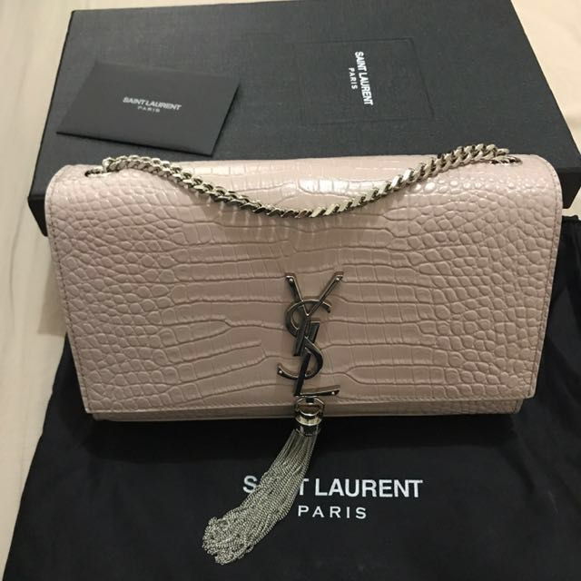 Authentic Saint Laurent croc embossed leather, crossbody bag