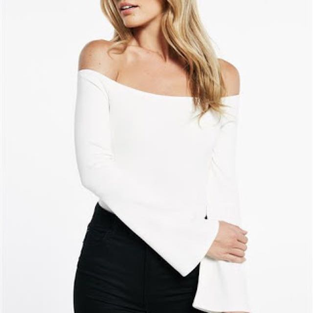 Bardot Off Shoulder White Cream Bodysuit
