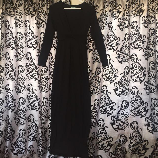 Black silk long fitted dress