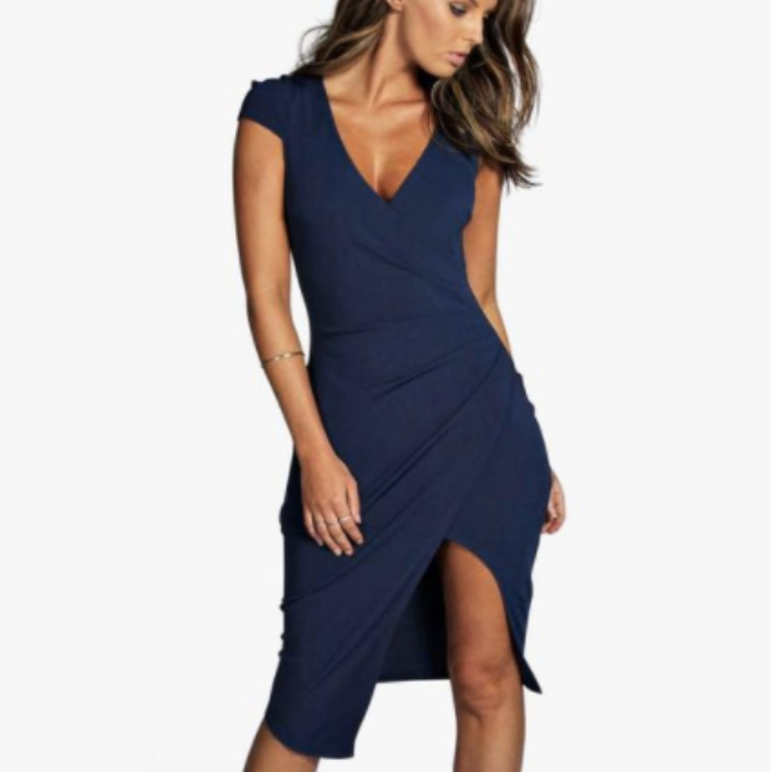 NEW Boohoo Meg Cap Sleeve Wrap Midi Navy Dress Size 6 4 Small Topshop Zara Aritzia