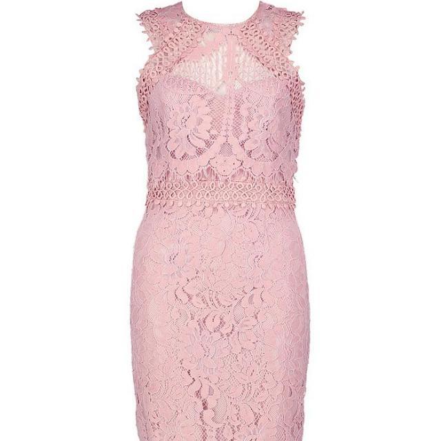 Boohoo Premium Pink Blush Lace Midi Dress