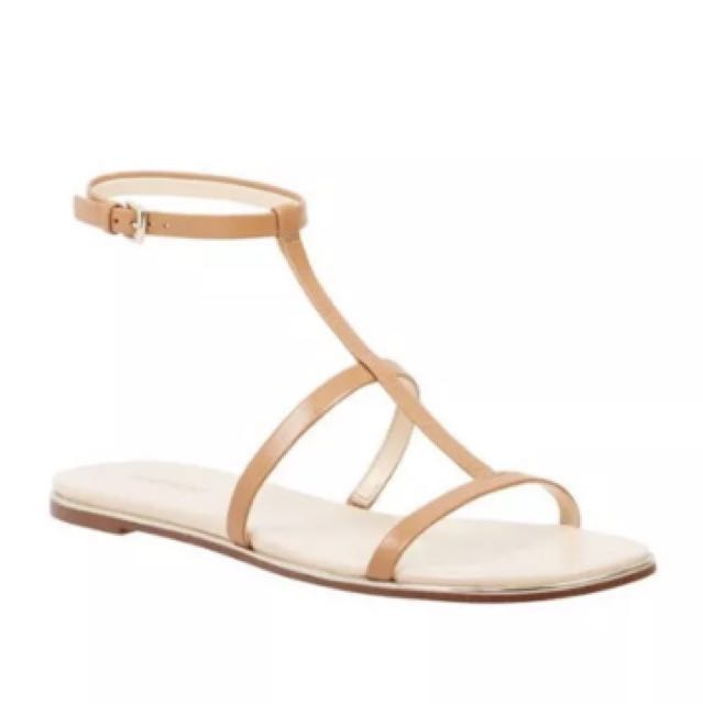 Brand new tan leather mine West shorty sandals size 5.5