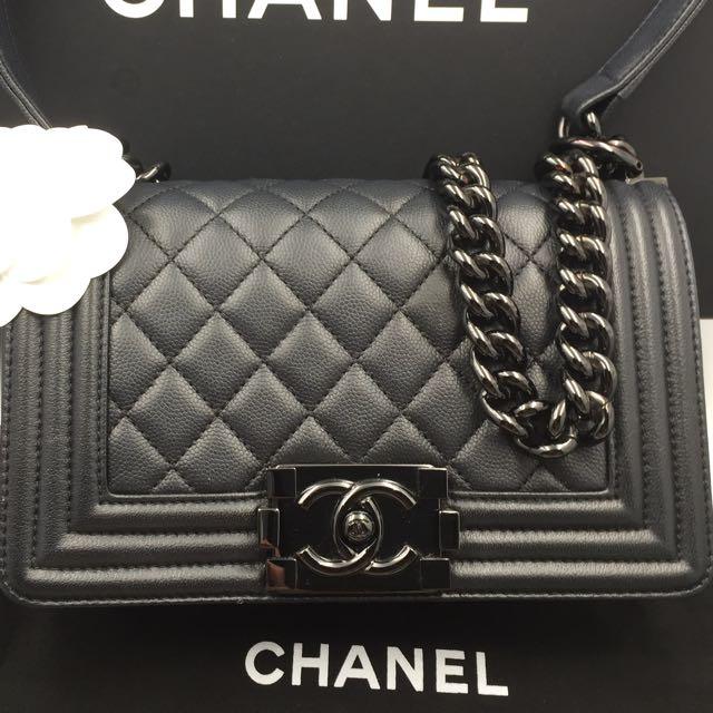 81cd1cecc5a4 Chanel small boy in so black hardware black caviar
