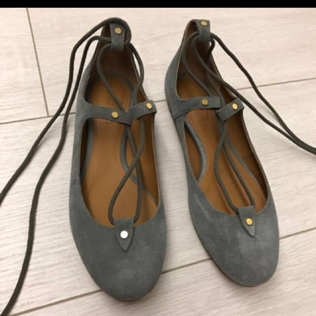 降~全新灰色麂皮Chloe綁帶娃娃鞋EU37.5