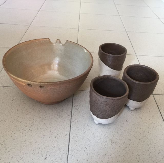 Clay Craft Bowl and Cups (one set)