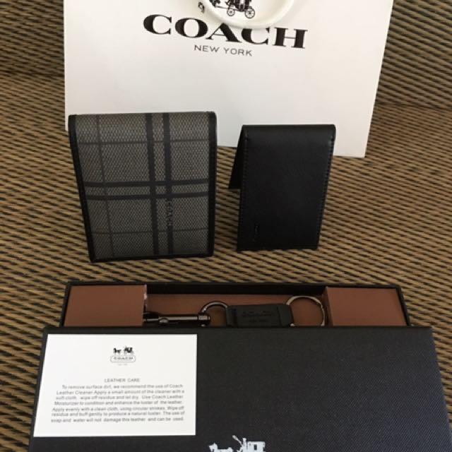 Coach short wallet Saffiano leather