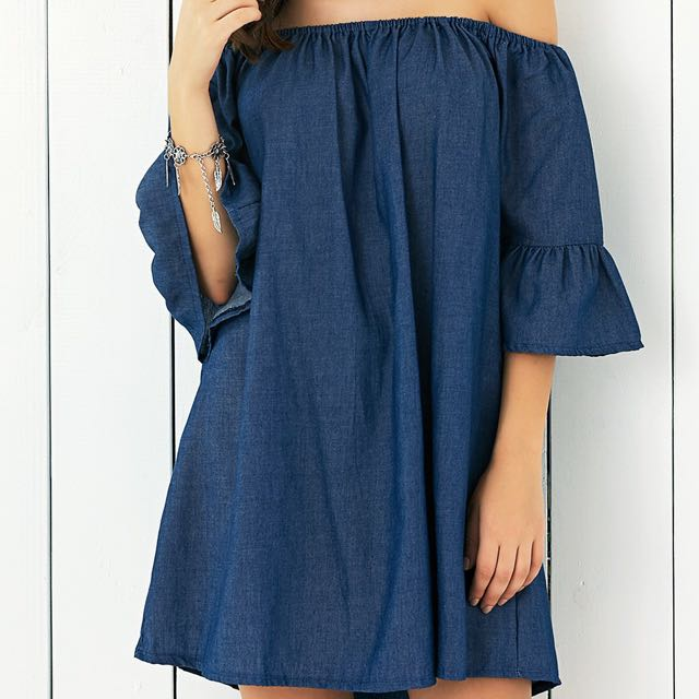 8e7614549470 Denim Off-Shoulder Bell Sleeve Dress
