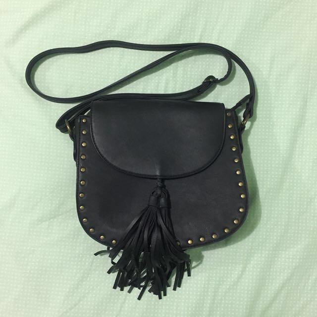 [Don't Ask Amanda] Faux Leather Studded Tassle Saddle Bag