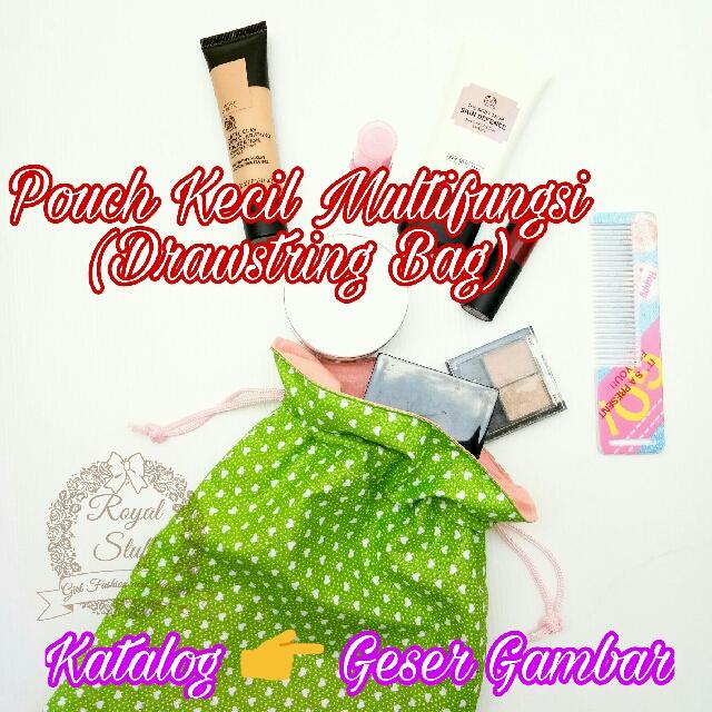 Drawstring bag, tas serut, tempat kosmetik, cosmetic pouch