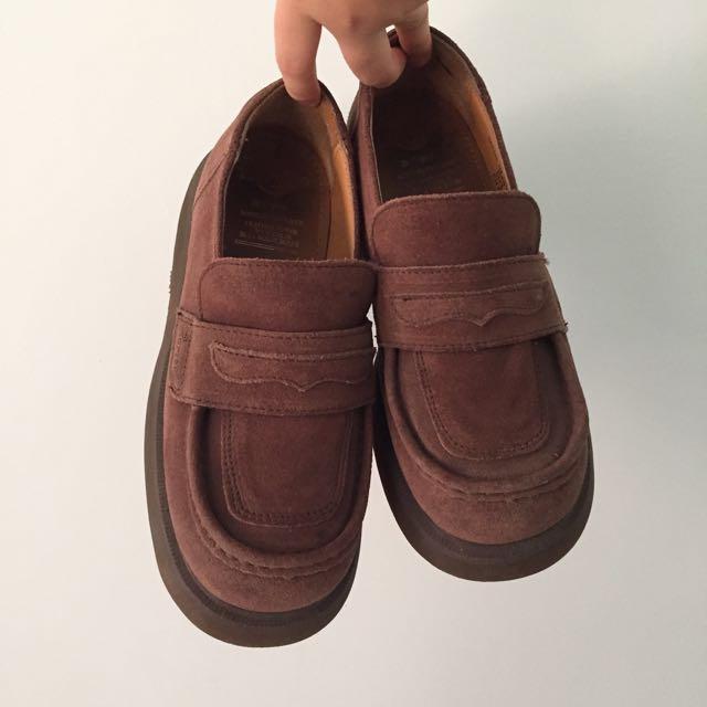 二手✌🏽Dr.Martens 絕版老麂皮馬丁 稀少 棕色 厚底鞋 古著