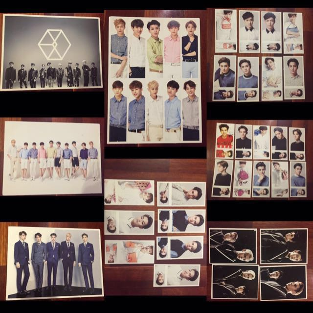 EXO POSTCARDS + POSTERS + FAN + POUCH + BOOK