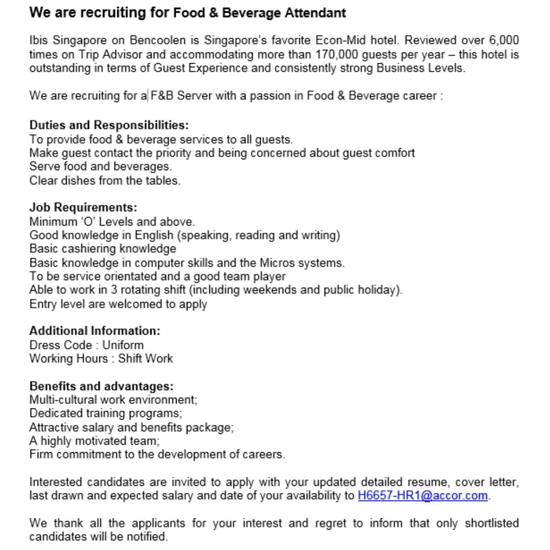 food and beverage attendant responsibilities