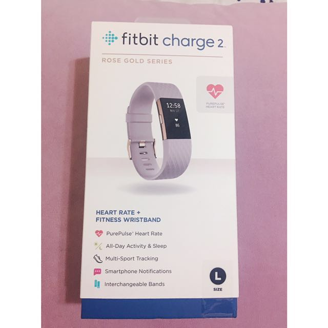 Fitbit Charge 2 Lavender Rose Gold Heart Rate + Fitness Wristband (Size:L)