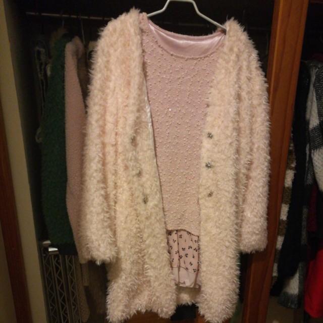 Fluffy coat + pink dress set