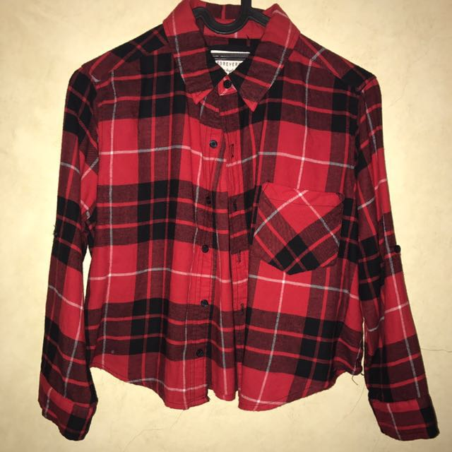 Forever 21 Cropped Flannel Shirt