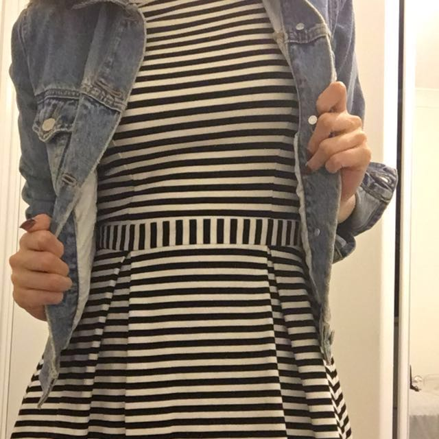 Forever New - Black and White Stripe Summer Dress Size 6