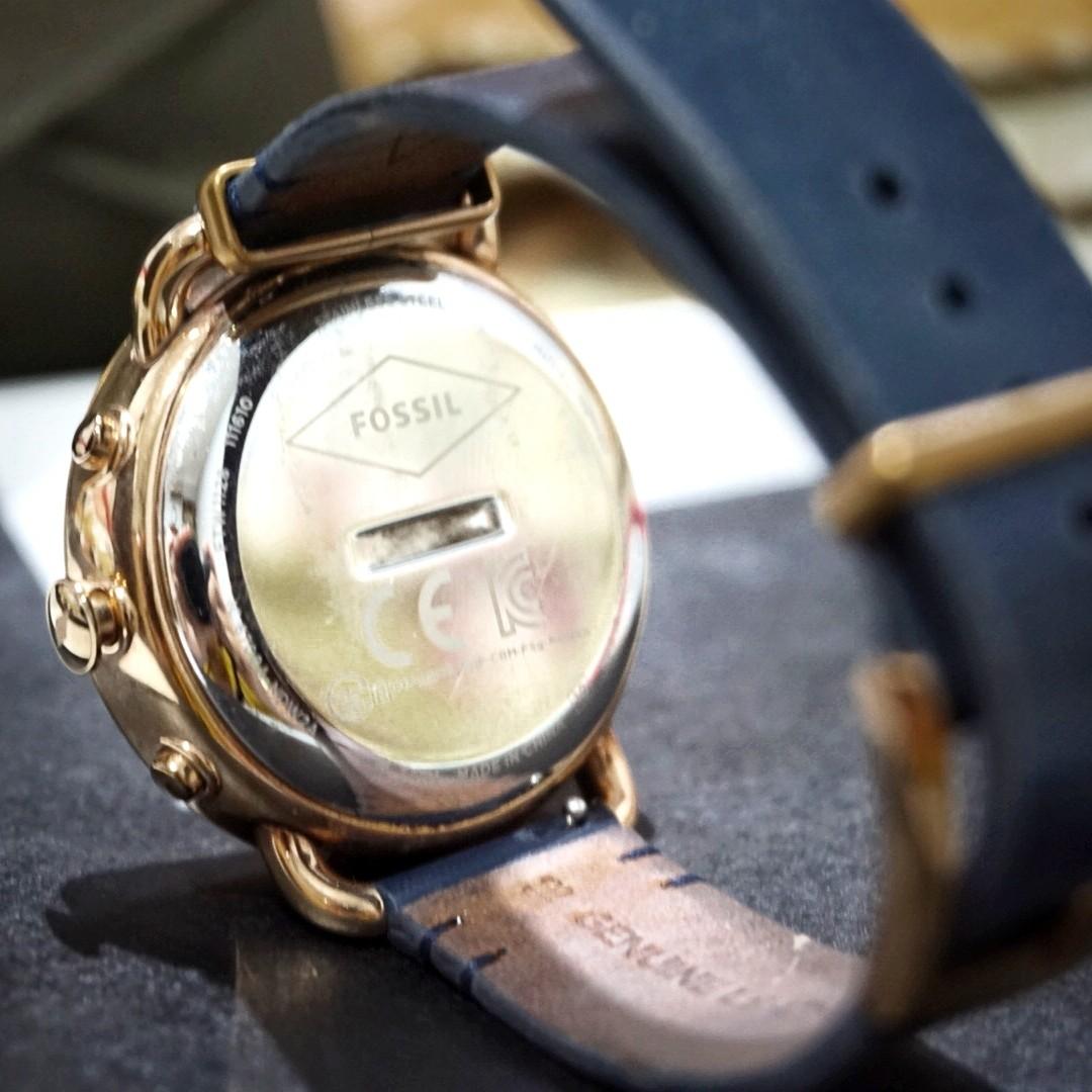 Fossil Jam Tangan Wanita Leather Strap Es 40073 Daftar Harga Es4121 Tailor Bordeaux Original Q Hybrid Smartwatch Blue Preloved Fesyen