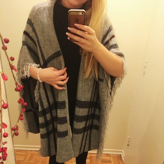 grey, mauve, and navy shawl